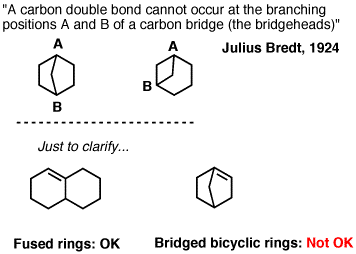 Bredts rule - a carbon double bond cannot occur at the branching positions of a carbon bridge