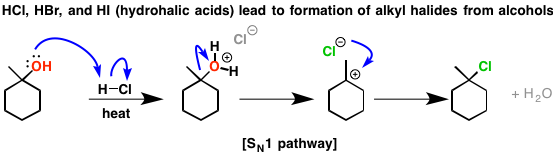 2-hcl alcohols sn1