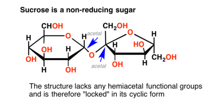 "Sucrose is a non-reducing sugar. The structure contains ""locked' acetals not in equilibrium with open forms."