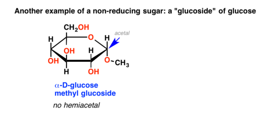 Glycosides are not reducing sugars because they lack a hemiacetal functional group.