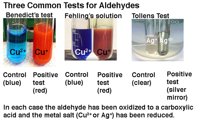 Three common tests for aldehydes: Benedict's test, Fehlings solution, and the Tollens test. Here's what each of these positive and control tests look like. In each case the aldehyde has been oxidized to a carboxylic acid and the metal salt (Cu2+ or Ag+) has been reduced.
