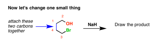 An intramolecular williamson ether synthesis between an alcohol and an alkyl bromide and sodium hydride as a base showing how these two reactants come together to form a ring.