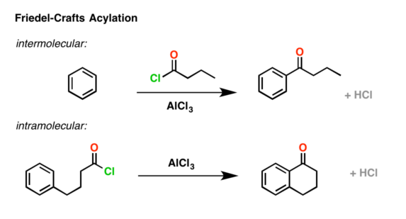 Illustration of the key difference between an intermolecular Friedel crafts acylation reaction and an intramolecular Friedel-Crafts acylation reaction.