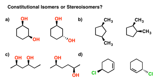 An image giving four examples of constitutional isomers vs stereoisomers