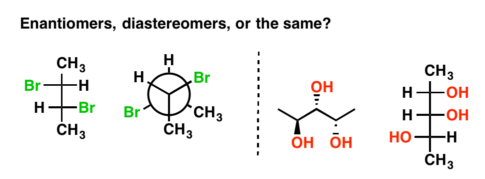 two examples of enantiomers vs diastereomers, one drawn as fischer projection, newman projection, line-wedge diagram and fischer projection