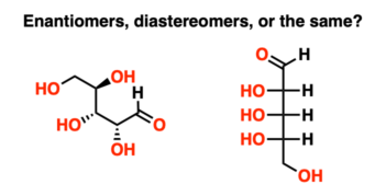enantiomers vs diastereomers example one drawn as fischer projection